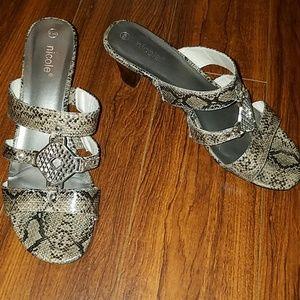 Nicole Silver Snakeskin Print Heel
